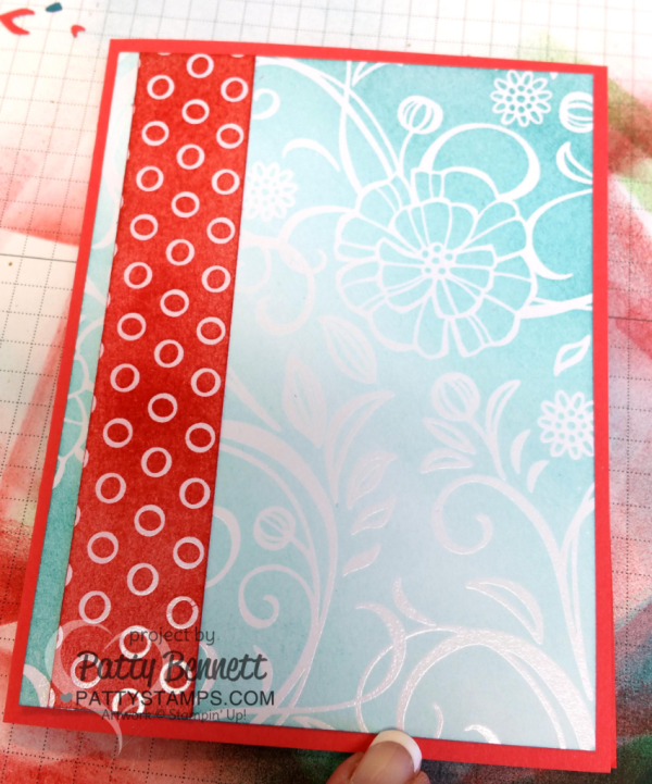 Irresistibly Floral paper colored with the foam brayer from Stampin Up. handmade card by Patty Bennett at pattystamps.com