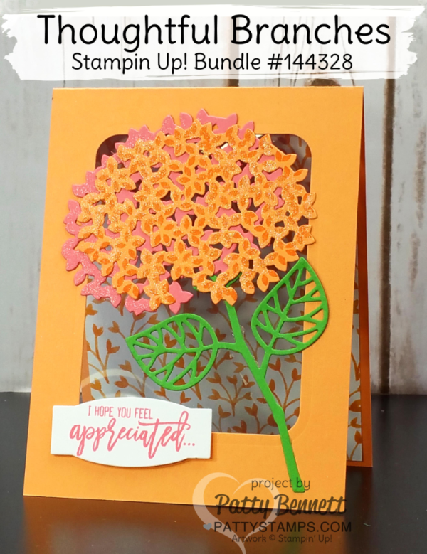 Stampin' UP! Thoughtful Branches limited-time offer stamp set and framelit bundle featuring In Color combo Flirty Flamingo, Peekaboo Peach and Cucumber Crush.  Hydrangea card by Patty Bennett