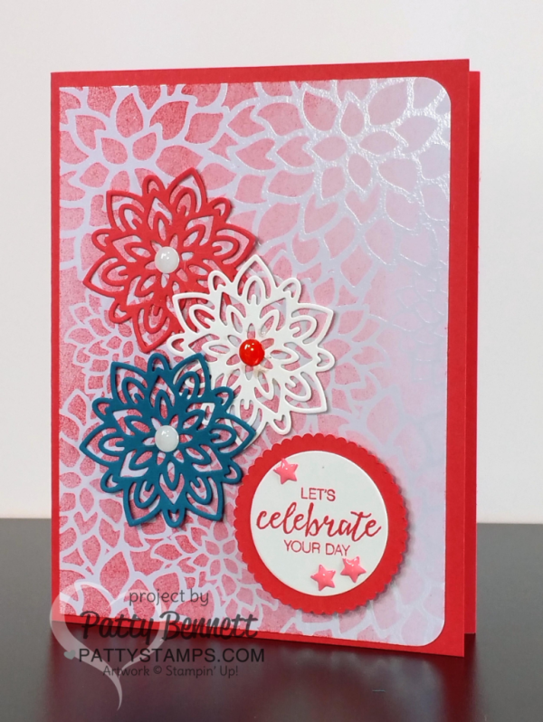 Handmade Celebrate your Day card featuring Stampin Up! Irresistibly Floral paper and Flourish Thinlits big shot dies by patty Bennett