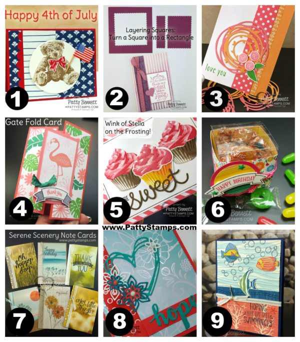 PattyStamps.com July blog projects part 1 - featuring Stampin' UP! sets, inks, papers and big shot dies, by Patty Bennett