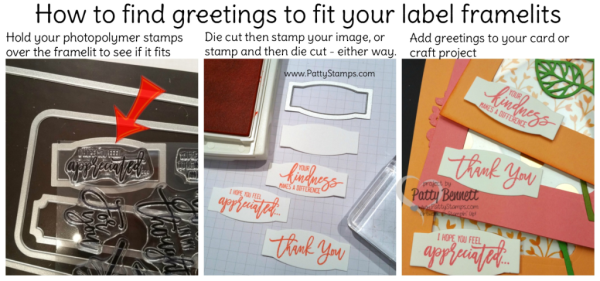 How to find greeting images to fit in your framelit label shapes, by Patty Bennett