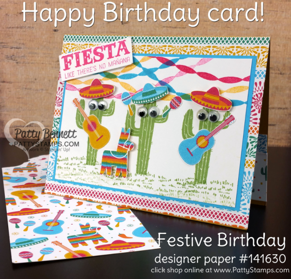 Festive birthday card with stamped cactus from the Birtthday Fiesta stamp set, and Festive Birthday designer paper.