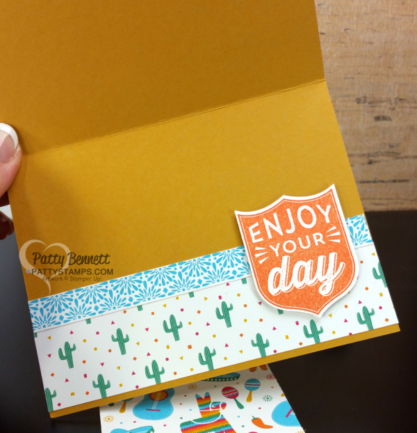 Birthday Card inside greeting with stamped Badges & Banners set from Stampin UP!