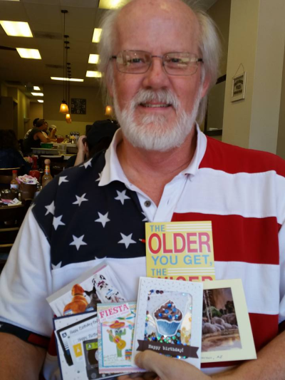 Eric - the birthday boy with handstamped cards!