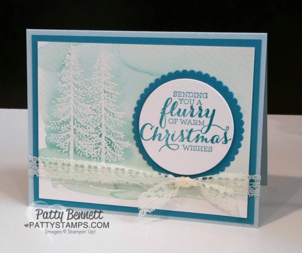 Thoughtful Branches Christmas card with watercolor wash background. card by Patty Bennett at pattystamps.com