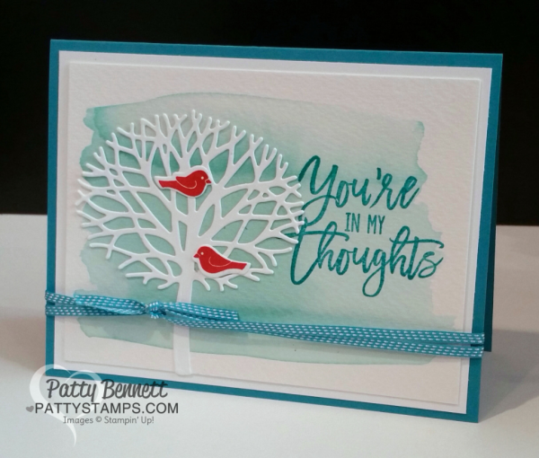 Thoughtful Branches card with watercolor wash background. card by Patty Bennett at pattystamps.com