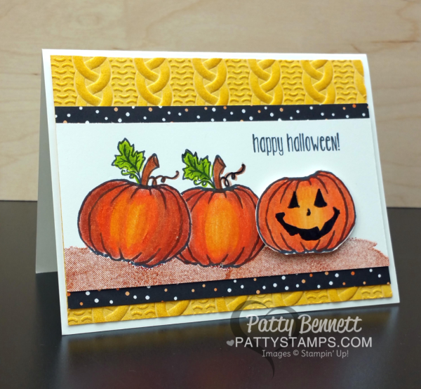 Stampin' Up! Jar of Haunts pumpkin card colored with Berol Prismacolor pencils by Patty Bennett, featuring the Cable Knit embossing folder background. Purchase your supplies online at www.pattystamps.com