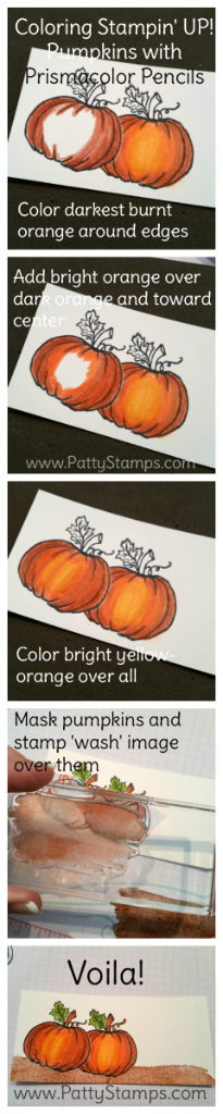 How to color the Stampin' Up! Jar of Haunts pumpkin with Berol Prismacolor pencils by Patty Bennett. Purchase your supplies online at www.pattystamps.com