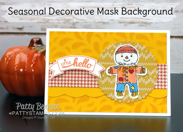 Seasonal Decorative mask background card featuring Stampin' Up! Cookie Cutter Halloween scarecrow!  by Patty Bennett, www.PattyStamps.com