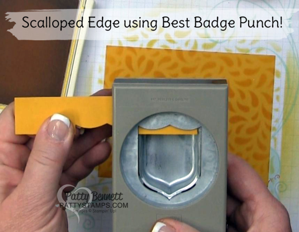 Creative Stampin Tip; Use the Best Badge punch to create a pretty scalloped edge on your Stampin' UP! card!