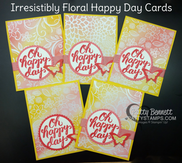 Video Tutorial for Irresistibly Floral Happy Day cards by Patty Bennett. Learn how to color this great emboss resist paper! www.pattystamps.com