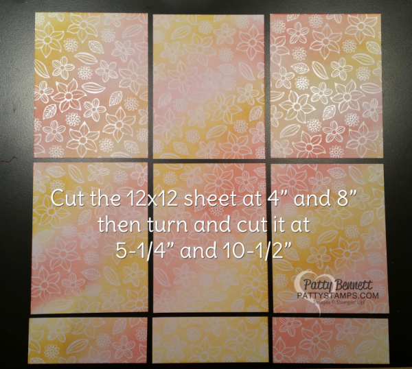 cutting guide for 12x12 paper  into 6 card fronts, featuring Irresistibly Floral paper from Stampin' Up!, by Patty Bennett