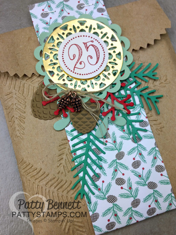 DIY embossed Kraft gift bags from Stampin' Up! with Pine Bough embossing folder and Pretty Pines thinlits and Merry Tags thinlits.. Great gift wrap packaging for small gifts by Patty Bennett, www.PattyStamps.com