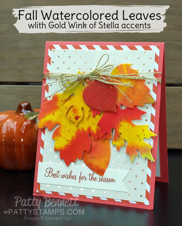 Leaflet Framelit Fall Leaf card idea featuring watercolored leaves by Patty Bennett and Stampin' Up! supplies.