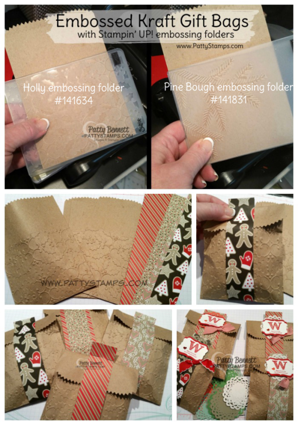 DIY embossed Kraft gift bags from Stampin' Up! with Holly and Pine Bough embossing folders. Great gift wrap packaging for small gifts by Patty Bennett, www.PattyStamps.com