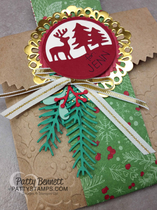 DIY embossed Kraft gift bags from Stampin' Up! with Holly embossing folder and Pretty Pines thinlits and Merry Tags thinlits. Great gift wrap packaging for small gifts by Patty Bennett, www.PattyStamps.com