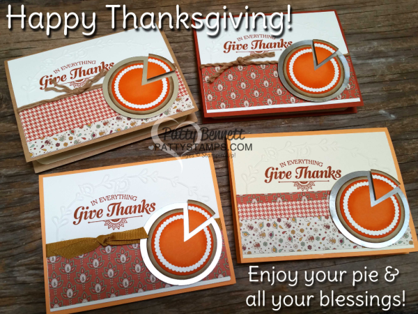 Pumpkin Pie Punch Art Thanksgiving cards featuring Stampin' UP! Layering Circles, Petals & Paisleys paper and Pretty Paisleys embossing folder by Patty Bennett