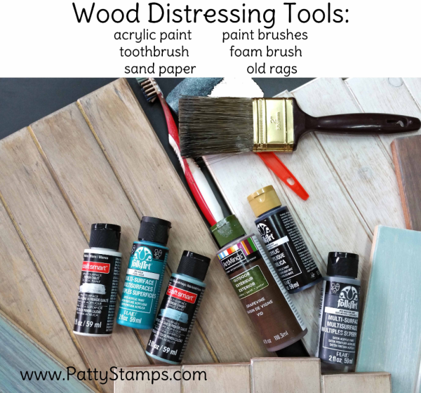 How to distress wood pine boards by Patty Bennett at www.pattystamps.com