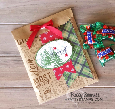 Christmas Kraft Gift bag stamped with Merry Medley background stamp from Stampin Up! by Patty Bennett at www.pattystamps.com