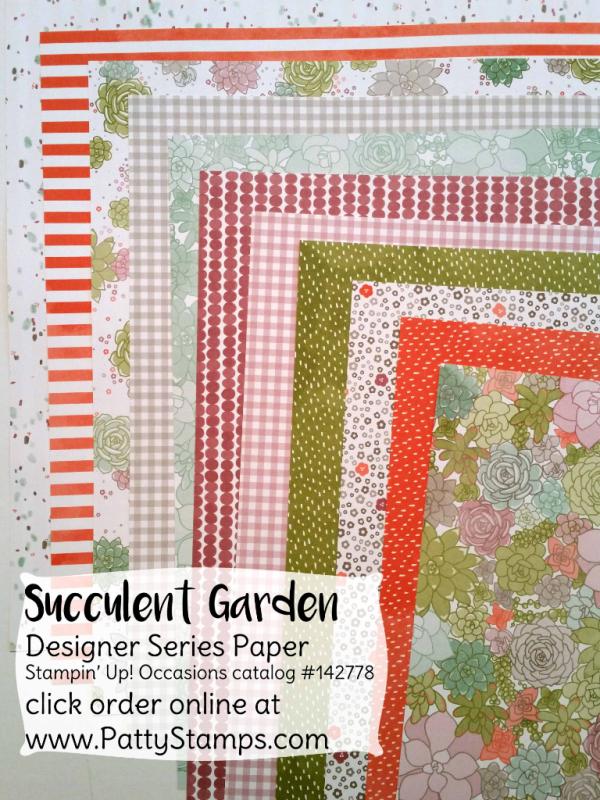Stampin' Up! Succulent Garden Designer paper patterns