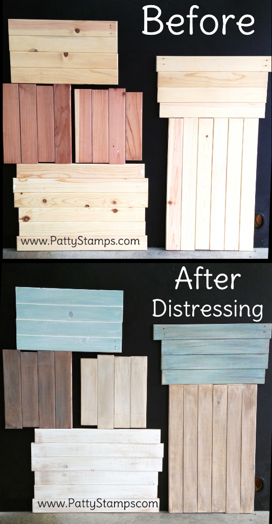 Before and After: How to distress wood pine boards by Patty Bennett at www.pattystamps.com