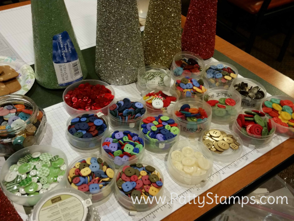 Supplies for Button Christmas Trees featuring retired Stampin Up! buttons and styrofoam cones by Patty Bennett, Joy and Roxy
