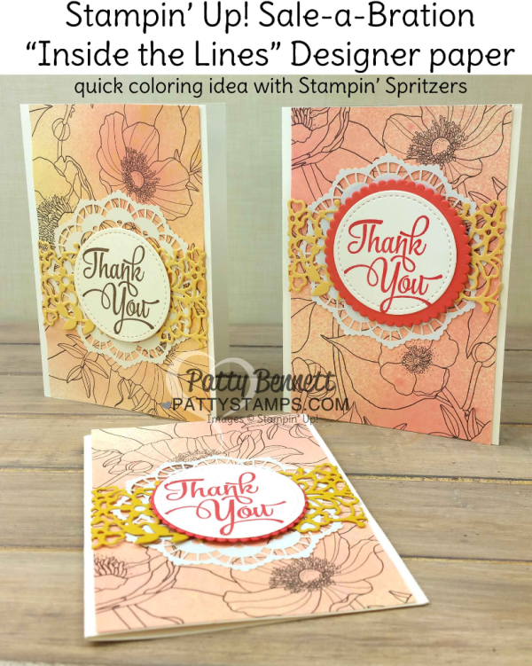 Stampin' Up! Inside the Lines coloring designer paper from Sale-a-Bration 2017 colored with Stampin' Spritzers on Thank You Note Cards by Patty Bennett