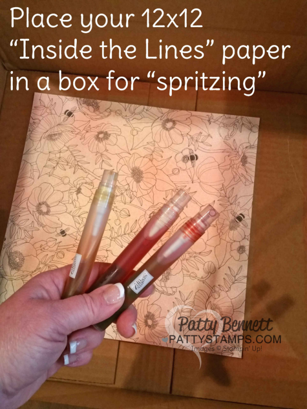 """Use Stampin Spritzers to quickly color your Stampin Up! Inside the Lines """"coloring book paper"""" - free gift choice with $50 purchase in my online store through March 30, 2017, www.pattystamps.com"""