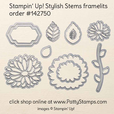 142750 Stylish Stems framelits from Stampin Up dick shop online at  pattystamps.com order #142750