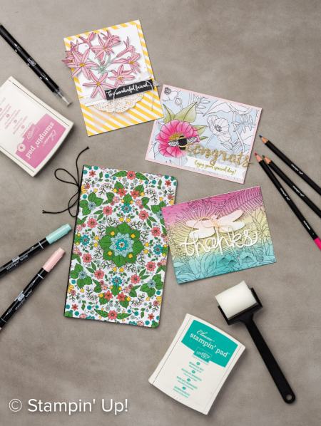 """Stampin Up! Inside the Lines """"coloring book paper"""" - free gift choice with $50 purchase in my online store through March 30, 2017, www.pattystamps.com"""