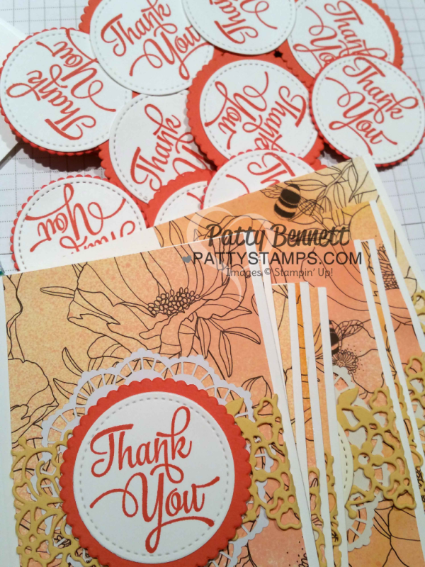 Stampin' Up! Inside the Lines coloring designer paper from Sale-a-Bration 2017 colored with Stampin' Spritzers on Thank You Note Cards featuring Stitched Shape framelits by Patty Bennett