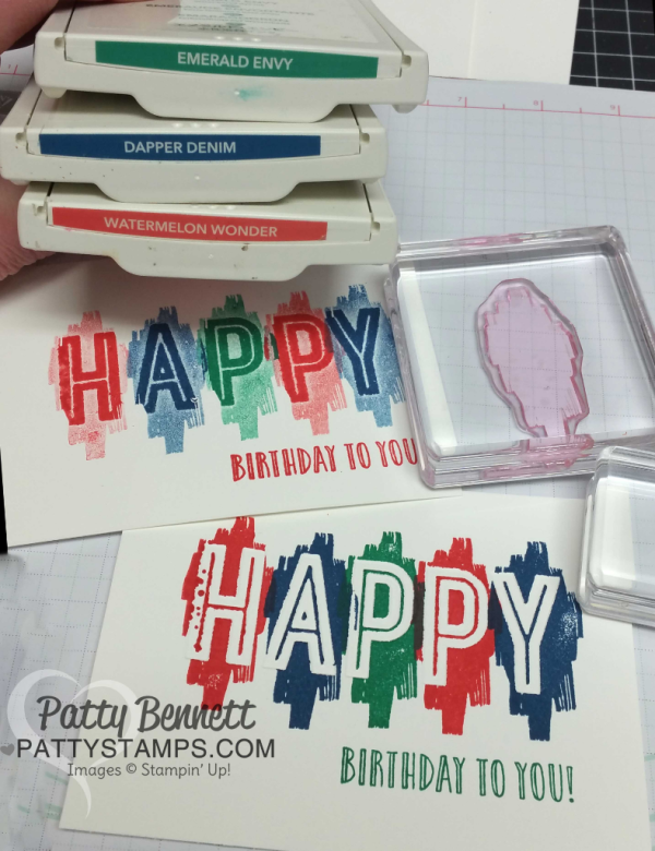 Color combo for debossed image Stampin' Up! Celebrations duo embossing folders.  HAPPY birthday cards stamped by Patty Bennett, www.pattystamps.com