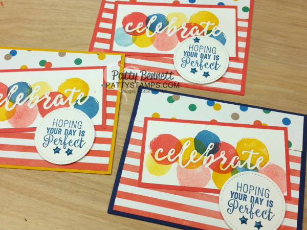 Create debossed images with the new Stampin' Up! Celebrations duo embossing folders.  CELEBRATE your perfect day cards stamped by Patty Bennett, www.pattystamps.com