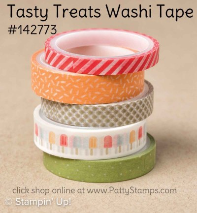 Stampin' UP! Tasty Treats washi tape, click shop online at www.pattystamps.com and order #142773