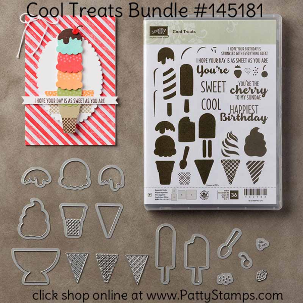145181 Cool Treats Ice Cream Cone & Sundae stamp set and framelit die bundle. Click shop online at www.PattyStamps.com and order #145181