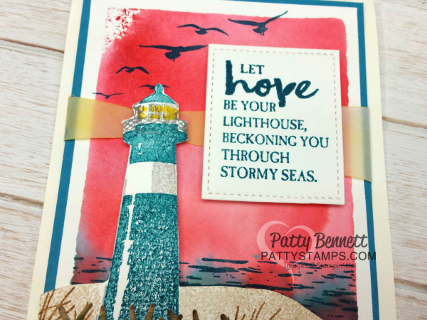 Watercolor Wash Backgrounds using clear block and ink pads for the Stampin' Up! High Tide Lighthouse set and Sunburst thinlit die with cardstock vellum.  Cards stamped by Patty  Bennett