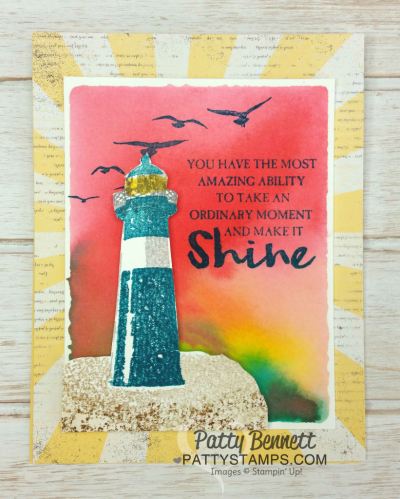 Watercolor Wash Backgrounds using clear block and ink pads for the Stampin' Up! High Tide Lighthouse set and sunburst pattern paper from the Cupcakes & Carousels paper stack.  Cards stamped by Patty  Bennett