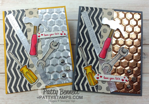 """Tool Cards"" featuring the Urban Underground Suite from Stampin' Up! with the Hexagon Dynamic embossing folder, by Patty Bennett"