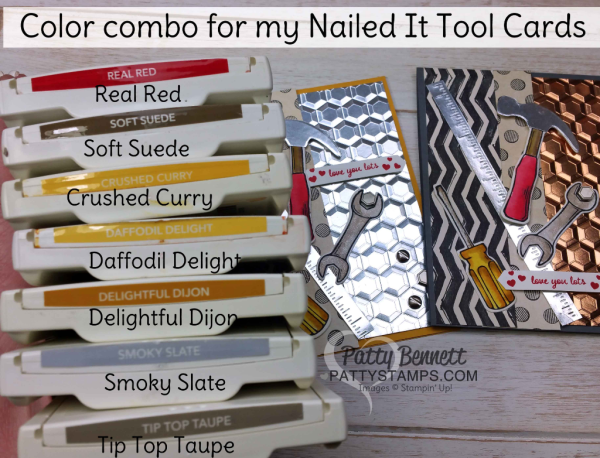 "Stampin' Up! Color Combo for my Nailed It ""Tool Cards"" featuring the Urban Underground Suite from Stampin' Up! with the Hexagon Dynamic embossing folder, by Patty Bennett"