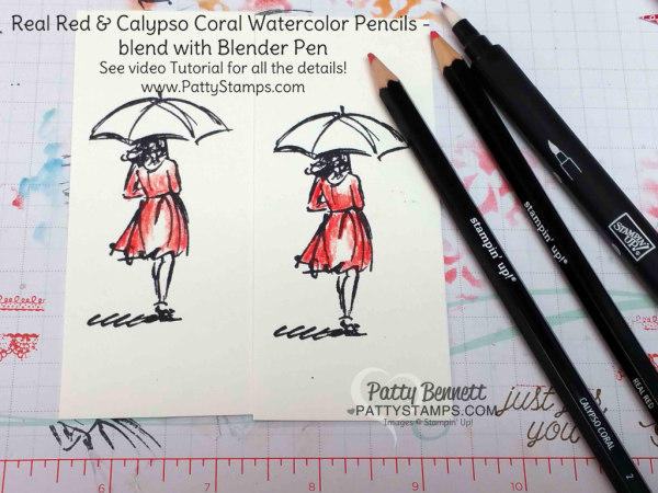 """Beautiful You """"lady in the rain"""" note cards colored with Watercolor Pencils. Serene Scenery paper stack background and Gorgeous Grunge raindrops. By Patty Bennett"""