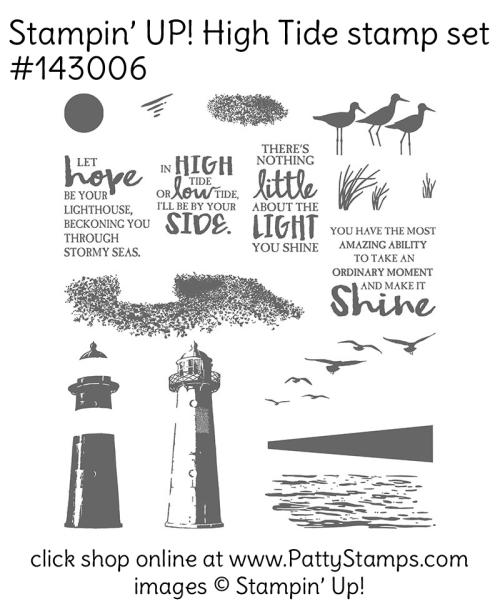 143006 Stampin' Up! High Tide lighthouse stamp set. Click shop online at www.pattystamps.com and order #143006