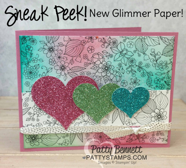 Stampin' UP! Inside the Lines Sale a Bration paper - color it in with markers, pencils, spritzers or sponge in your color as shown here. New Sale a Bration glimmer paper hearts die cut with the Sweet & Sassy heart framelits, by Patty Bennett