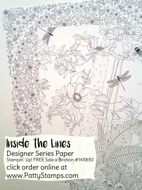 """143830 Inside the Lines """"coloring book"""" paper from Stampin' UP! Sale a Bration 2017, free with your $50 order through March 31"""