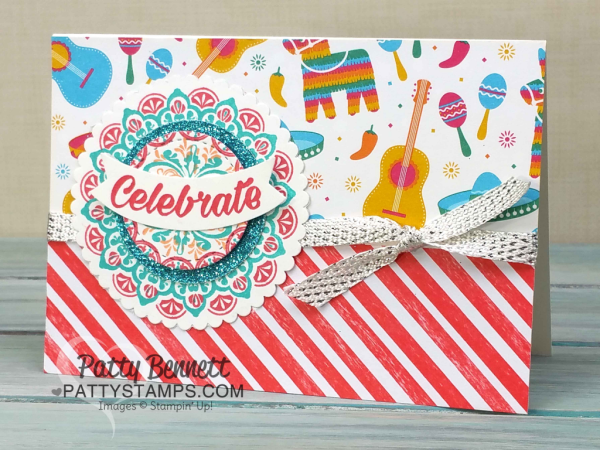 Make a Medallion Festive Birthday cards created with Stampin' UP! Sale a Bration glimmer paper, layering circle and stitched shape framelits. Cards by Patty Bennett