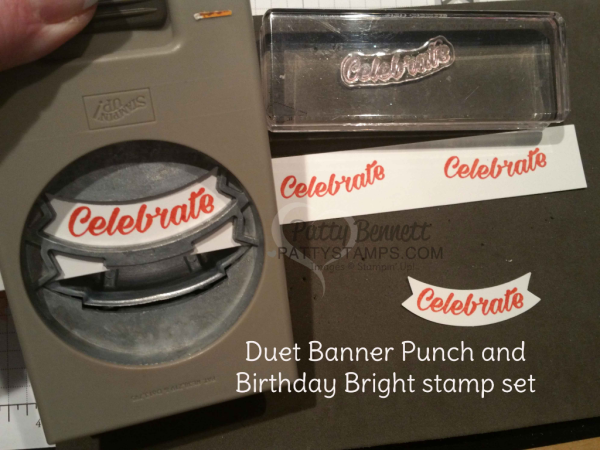 Duet Banner punch and Birthday Bright stamp set create cute Celebrate punched images. Stampin' Up! stamps and punch.