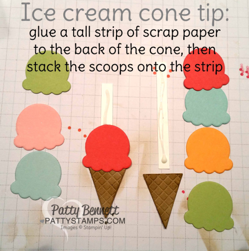 Stampin Tip for stacking the ice cream scoops onto the ice cream cone: glue a strip of paper behind the cone and use mulitpurpose glue on the strip. Stack the scoops up and they'll stay straight!