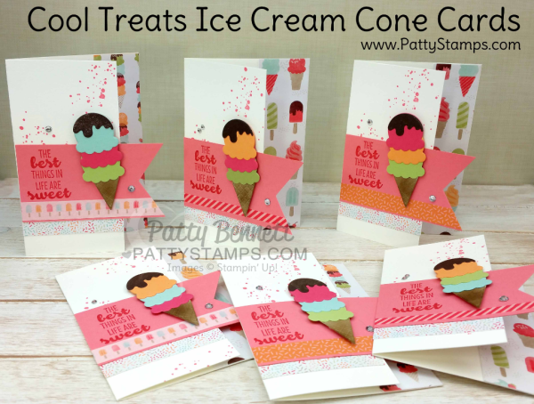 Cool Treats Ice Cream Cone Note Cards by Patty Bennett featuring Stampin' UP! Occasions catalog stamp set, Tasty Treats designer paper and Washi Tape.