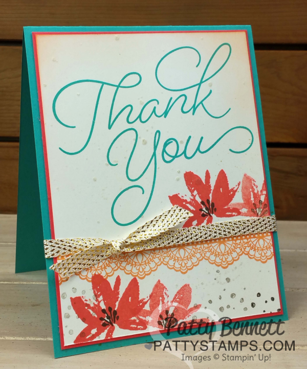 Stampin' UP! Sale-a-Bration stamp sets on Thank You Cards. Color Fuser Blog Hop for February 2017. Avant Garden, Delicate Details and So Very Much stamp sets featured.