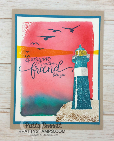 Watercolor Wash Backgrounds using clear block and ink pads for the Stampin' Up! High Tide Lighthouse set.  Cards stamped by Patty  Bennett