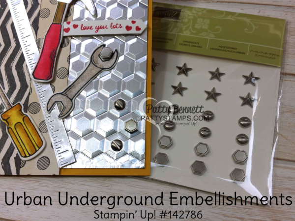 "Nailed It ""Tool Cards"" featuring the Urban Underground Suite from Stampin' Up! with the Hexagon Dynamic embossing folder, by Patty Bennett"
